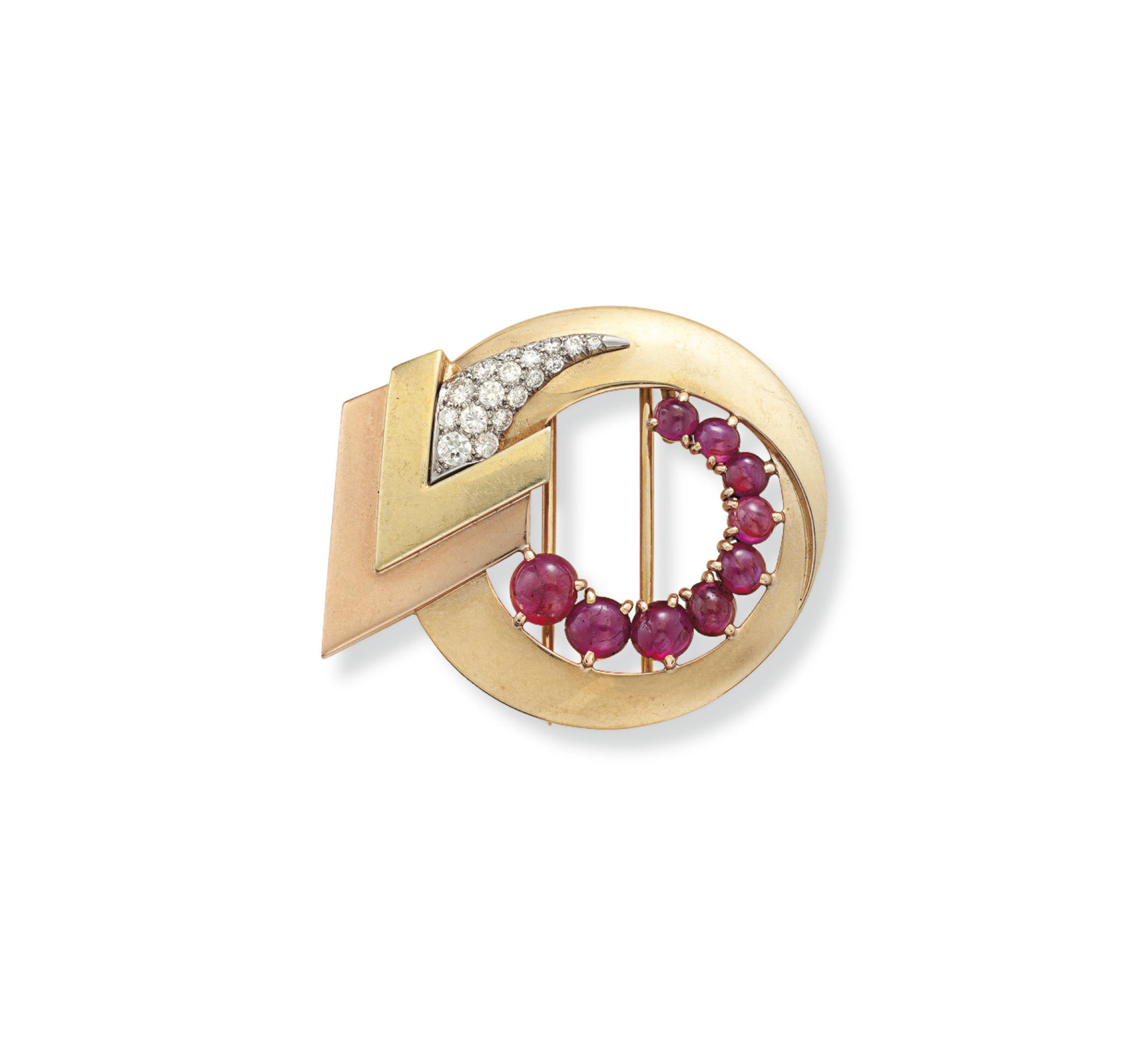 A RETRO RUBY, DIAMOND AND GOLD