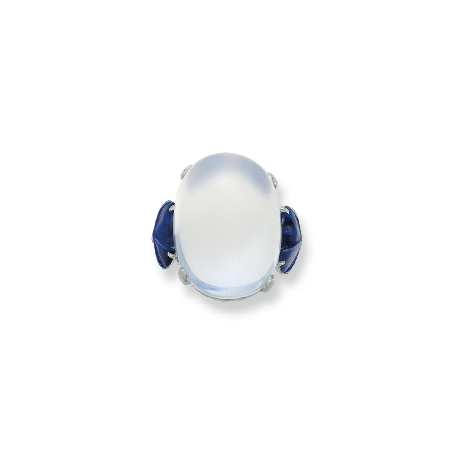 A MOONSTONE AND SAPPHIRE RING, BY MARCUS & CO.