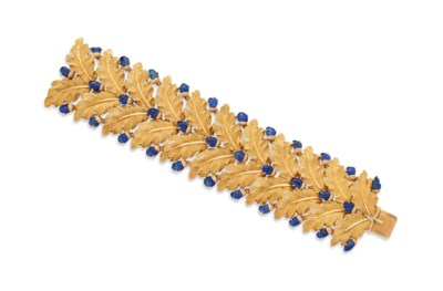 A SAPPHIRE AND GOLD BRACELET,
