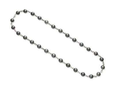 A GRAY CULTURED PEARL AND WHIT