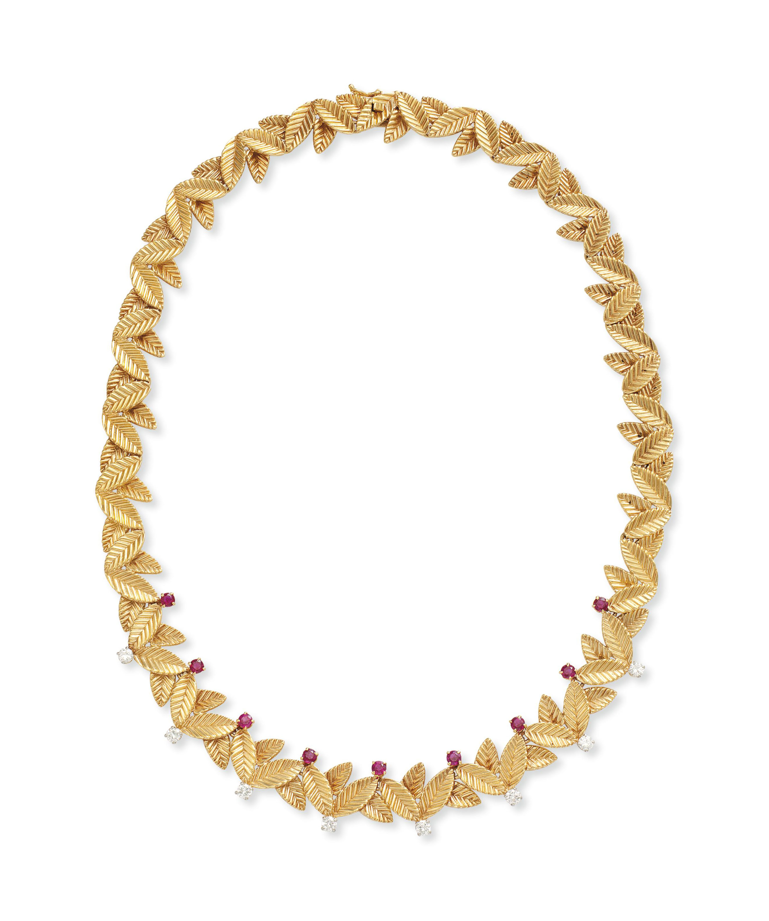 A RUBY, DIAMOND AND GOLD NECKL