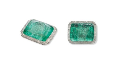 A CARVED EMERALD AND DIAMOND C