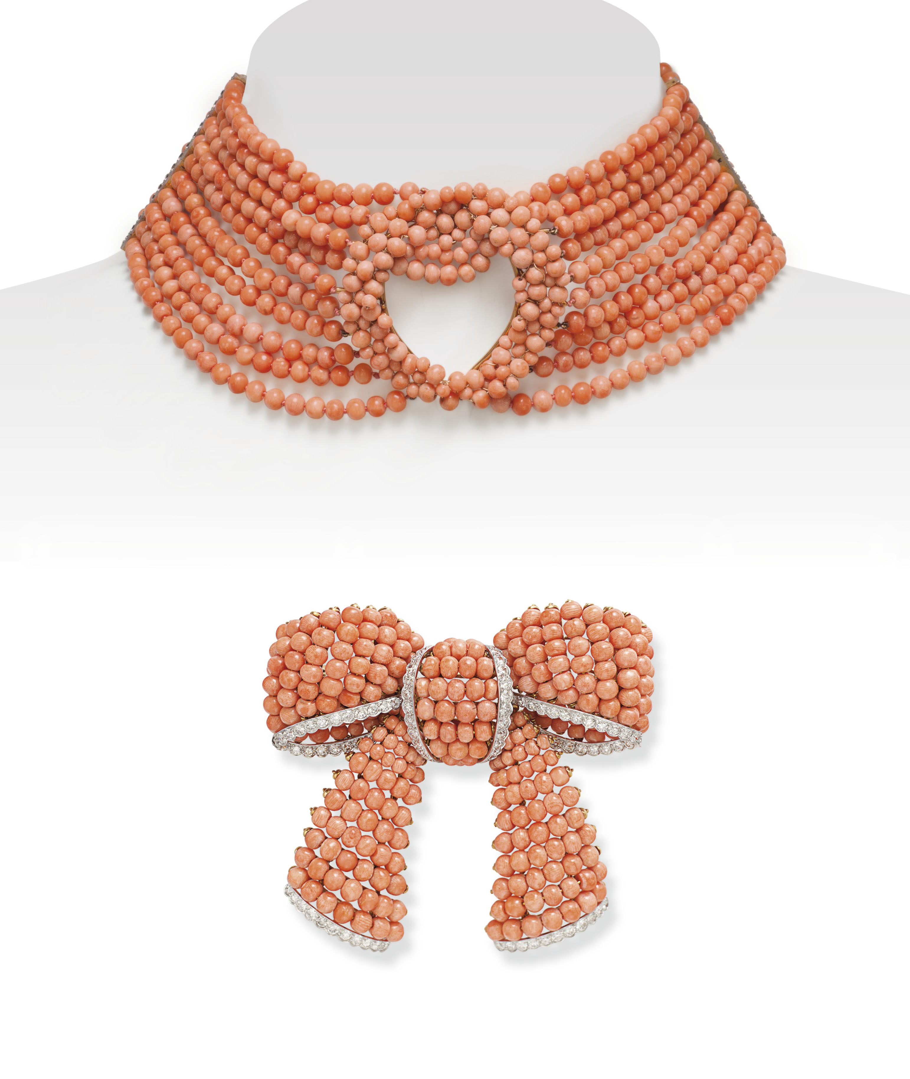 ~A CORAL AND DIAMOND BOW BROOC