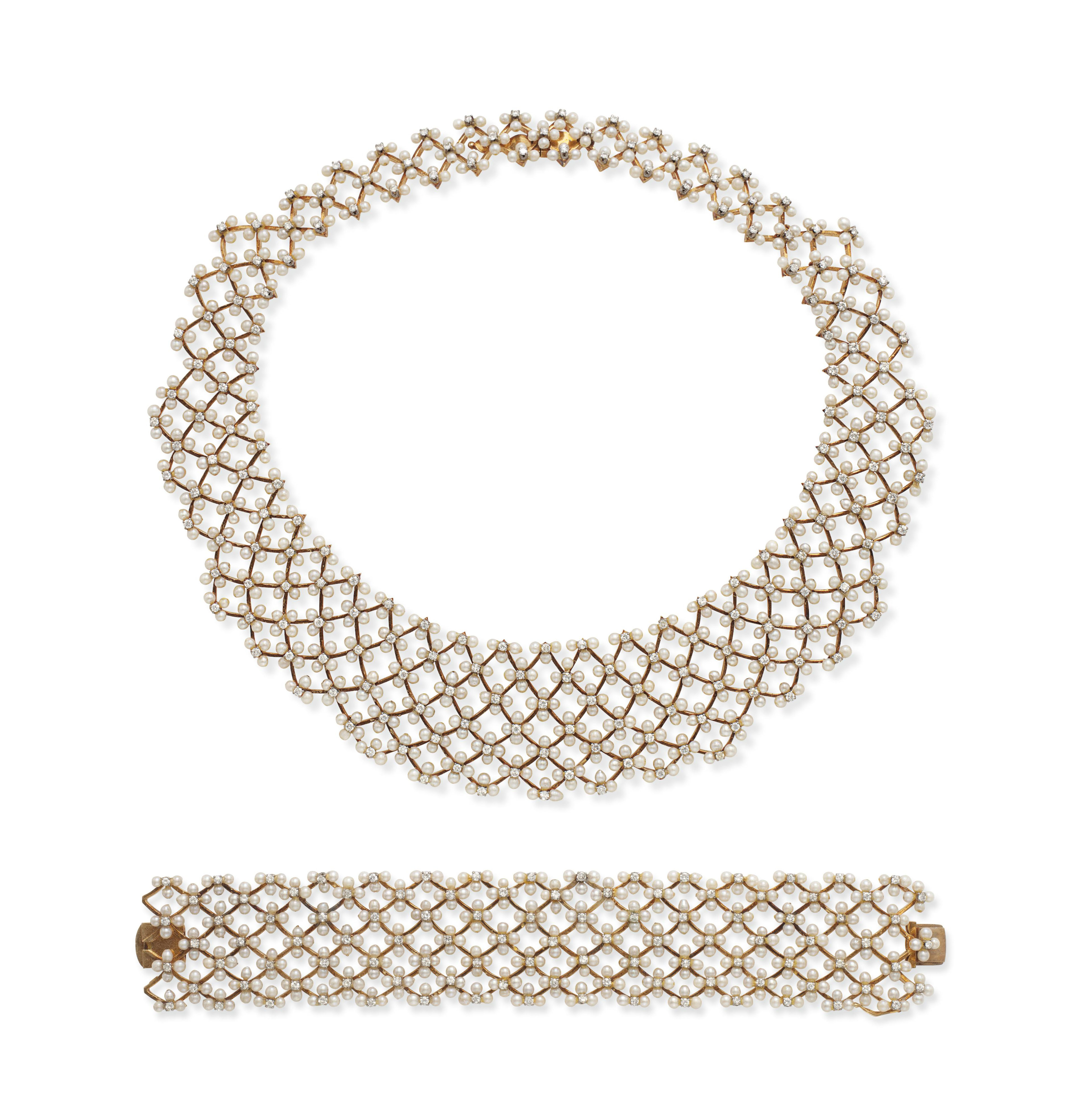 A SET OF SEED PEARL, DIAMOND AND GOLD JEWELRY, BY ILIAS LALOUNIS