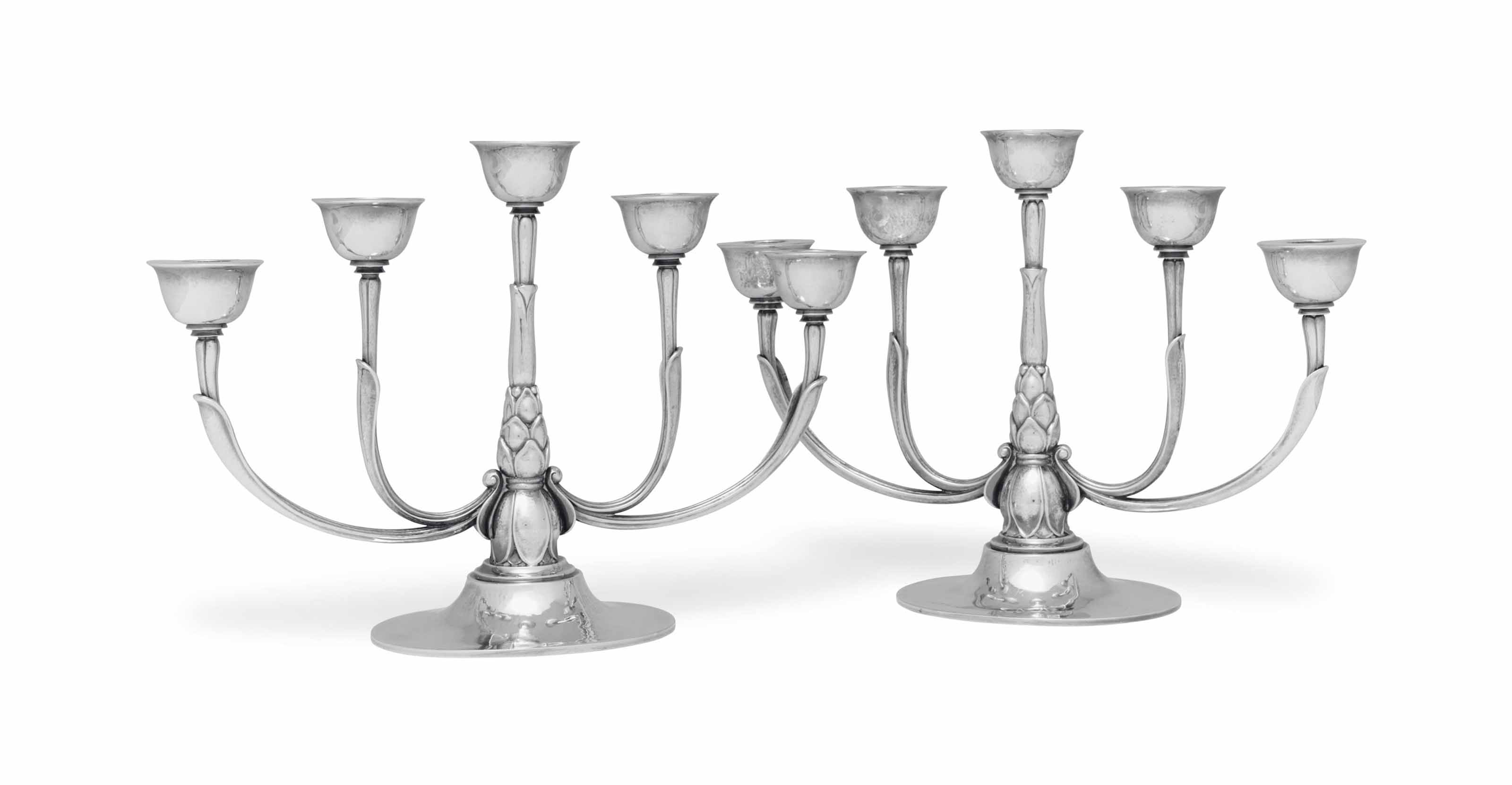 A PAIR OF DANISH SILVER FIVE-L