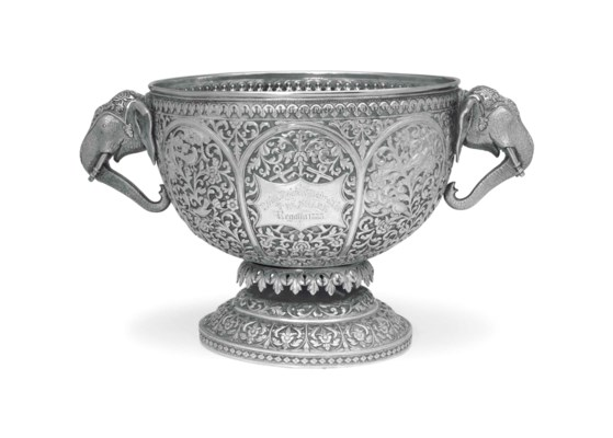 AN INDIAN COLONIAL SILVER TROP