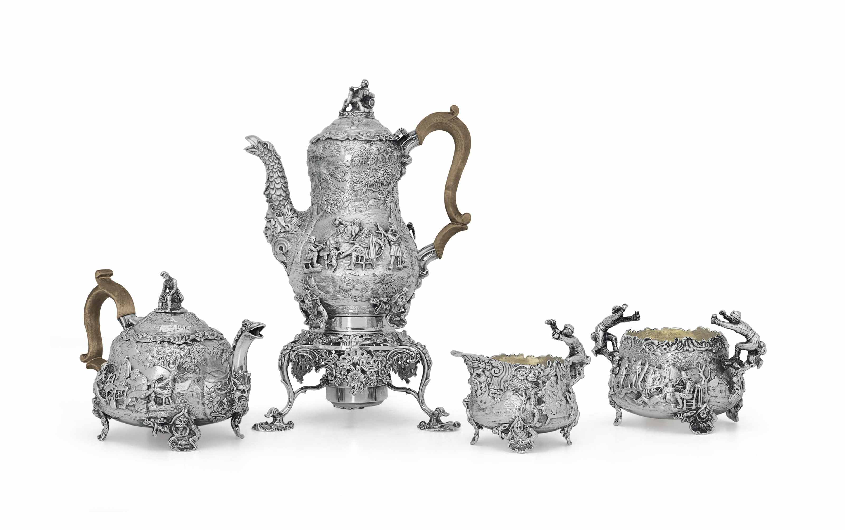 A GEORGE IV SILVER FOUR-PIECE TEA AND COFFEE SERVICE