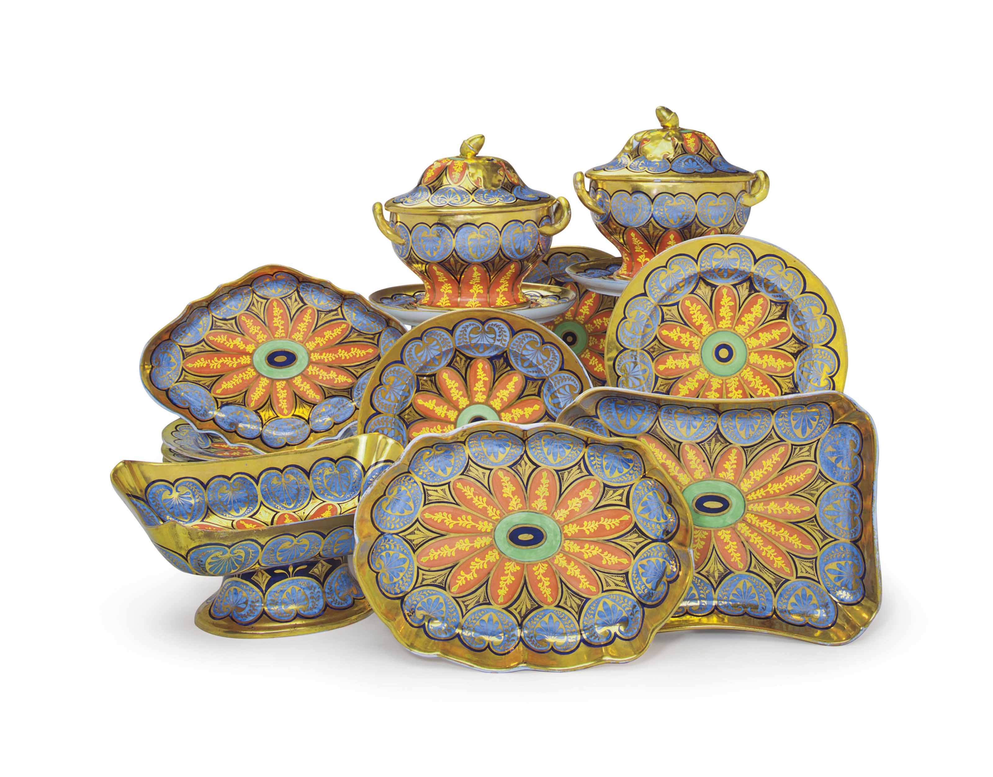 AN ENGLISH PORCELAIN BLUE AND ORANGE GROUND PART DESSERT SERVICE