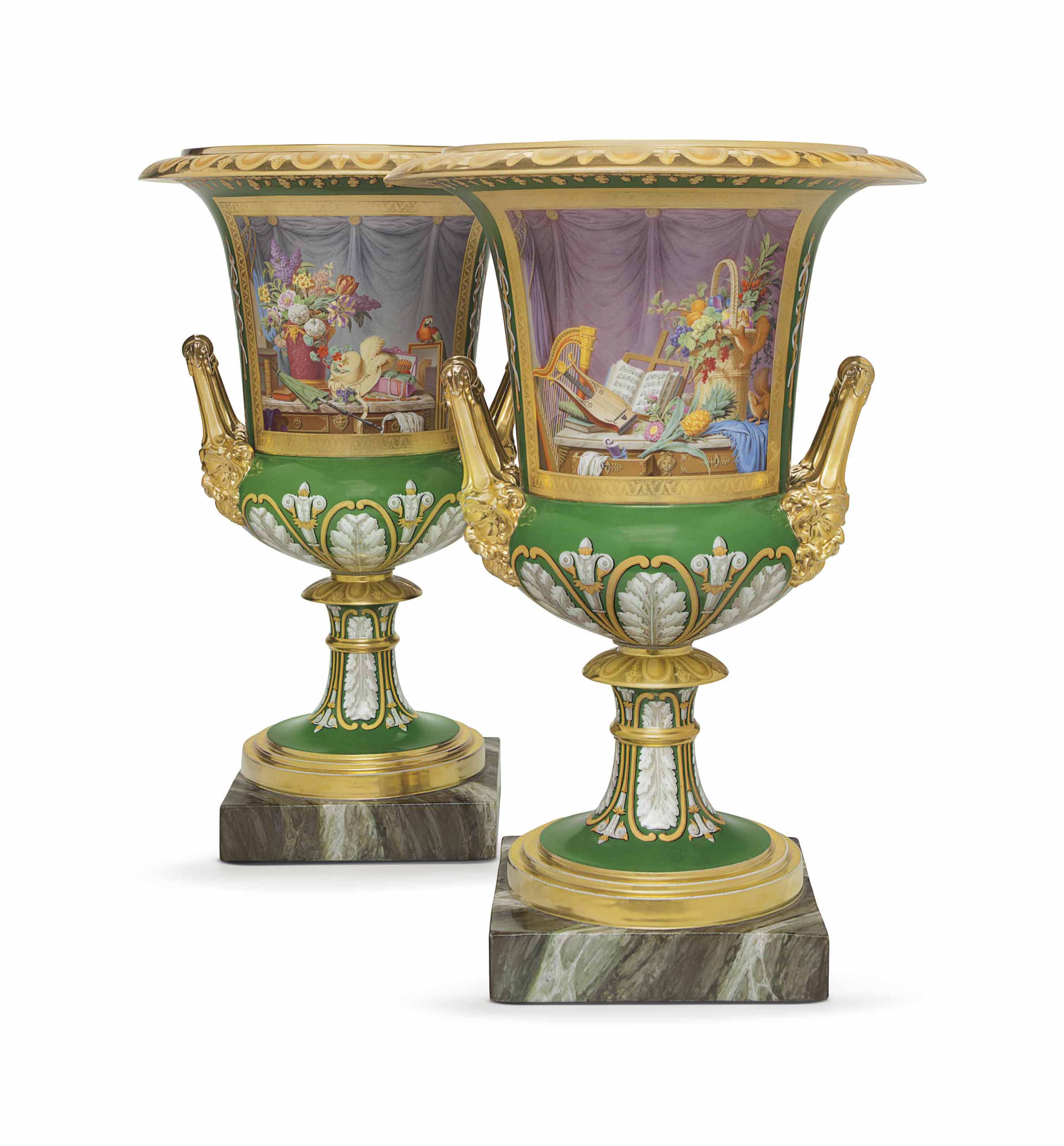 A PAIR OF PARIS (DARTE FRERES) PORCELAIN GREEN AND GOLD GROUND CAMPANA VASES