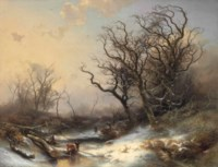 Wood Gatherers in a Snowy Landscape