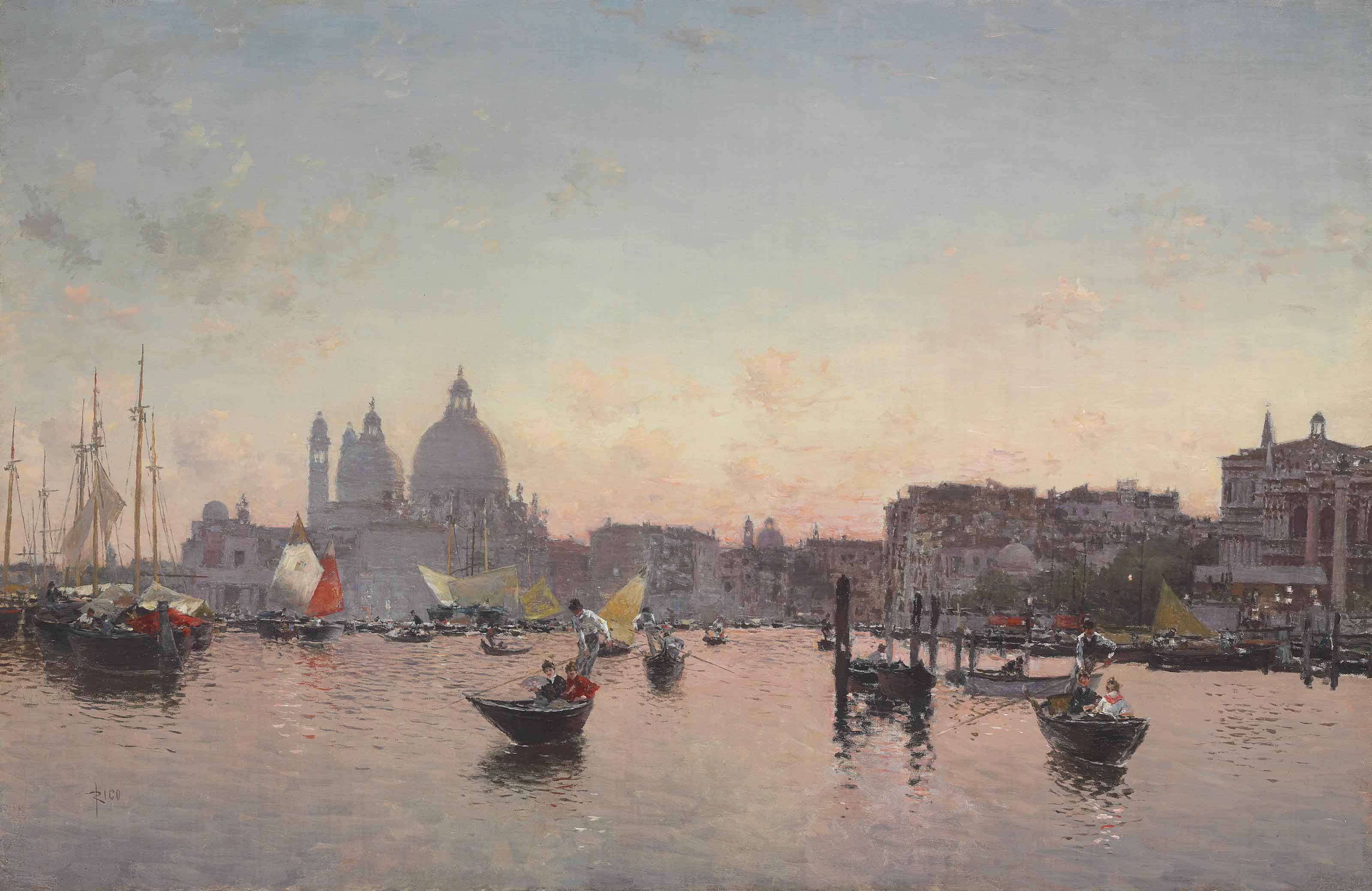 A View of the Lagoon with Santa Maria della Salute at Sunset