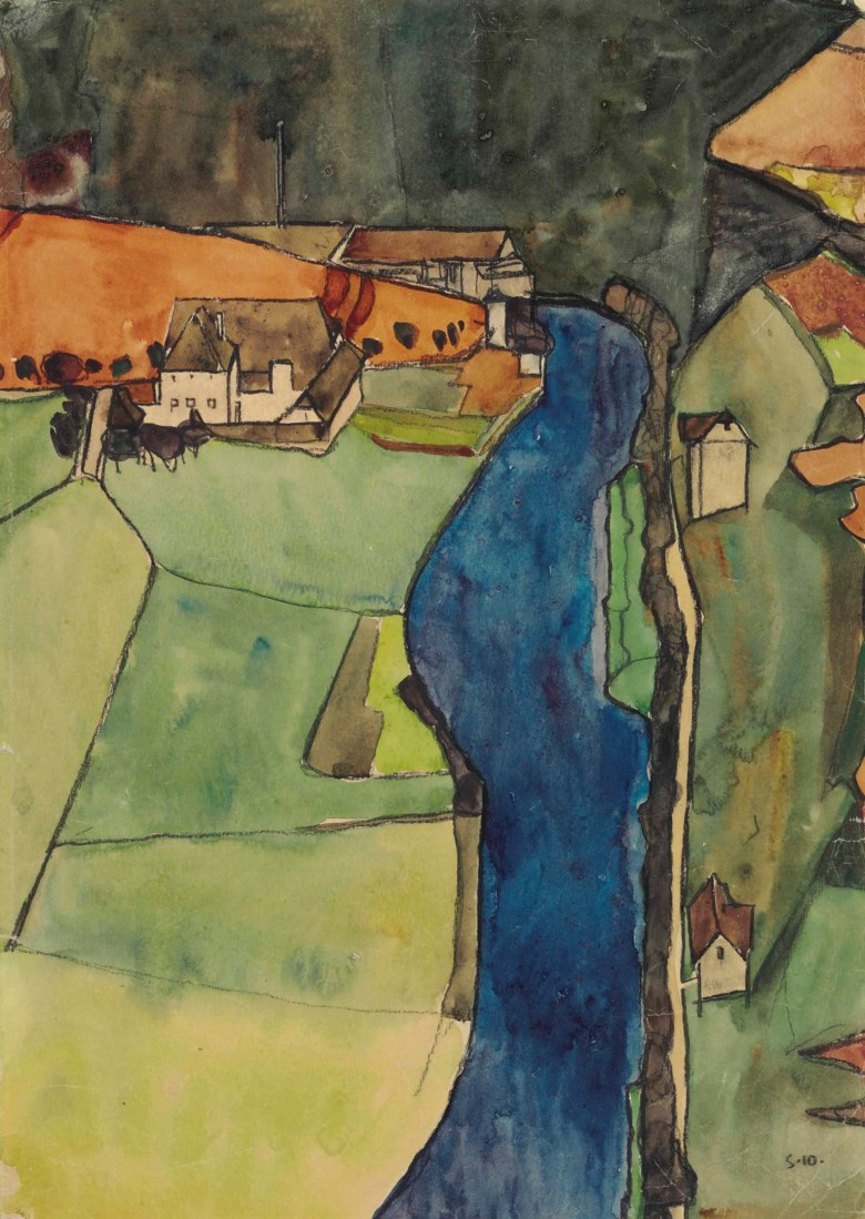Egon Schiele (1890-1918), Stadt am blauen Fluss (Krumau), executed in 1910. 17¾ x 12⅜  in (45 x 31.4  cm). Sold for $2,965,000 on 5 November 2014 at Christie's in New York