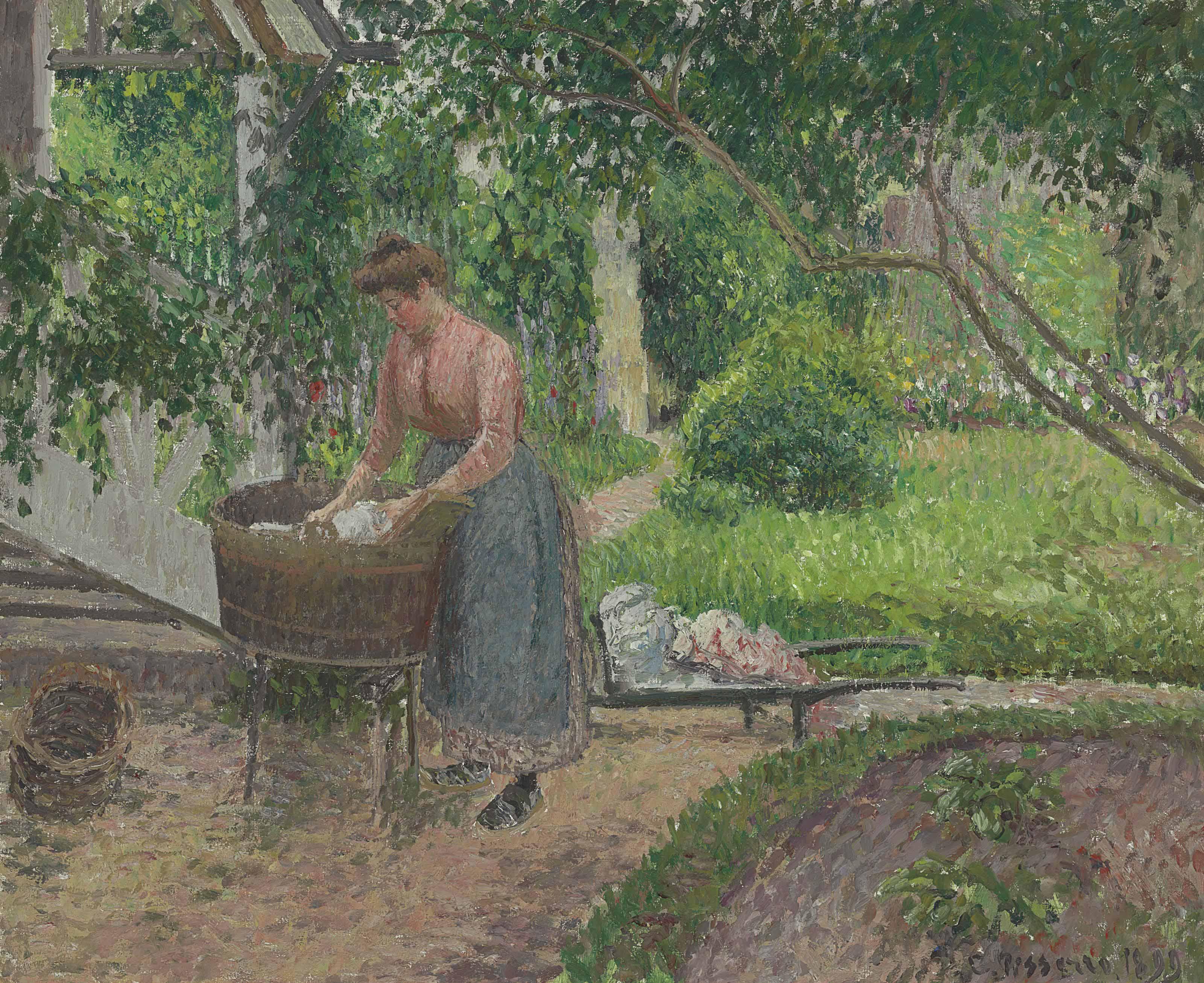 Camille pissarro 1830 1903 laveuse dans le jardin d 39 eragny christie 39 s - Invasion d araignee dans le jardin ...