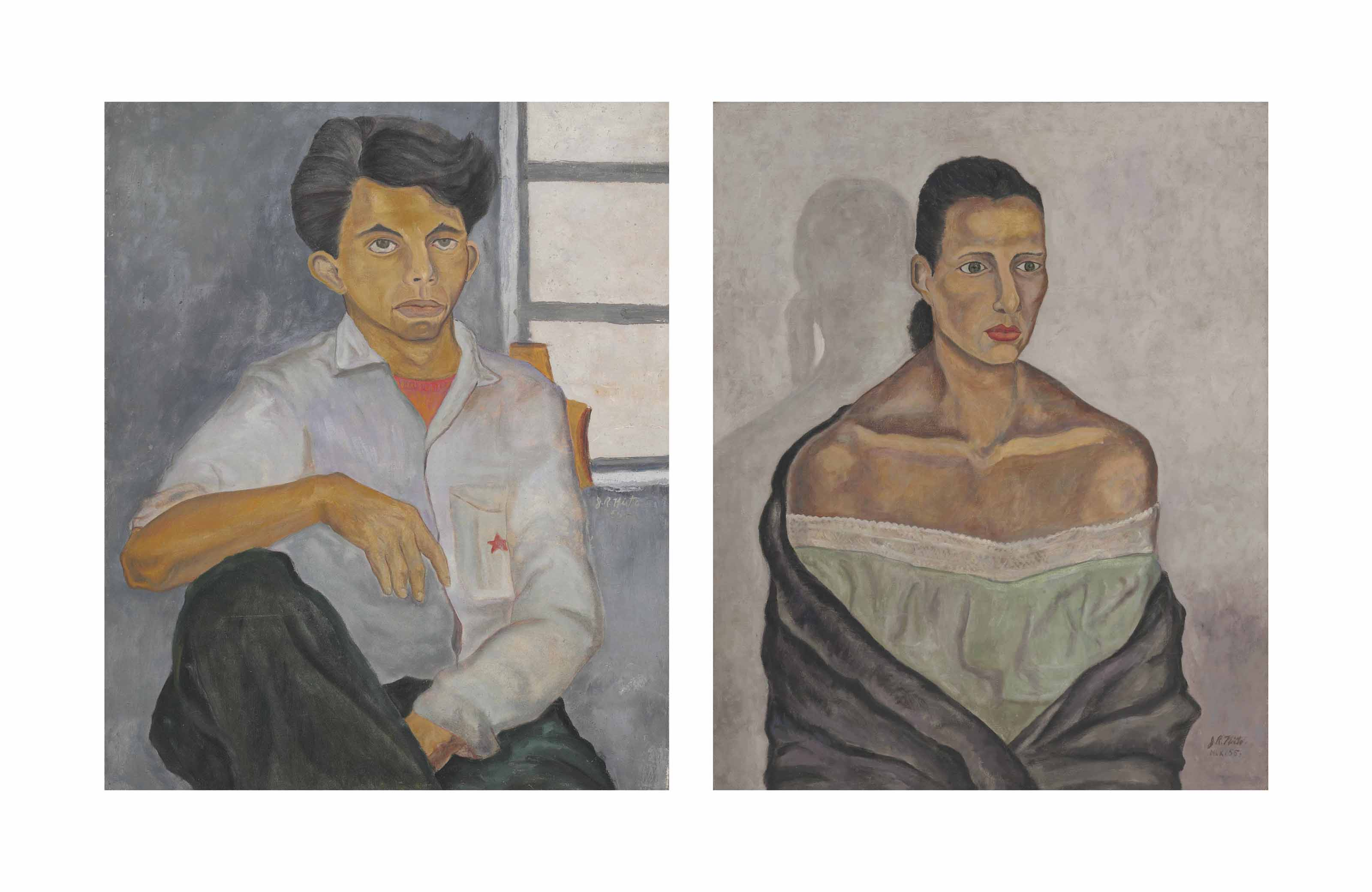 Two paintings: Portrait of Zamudio and Portrait of a Woman