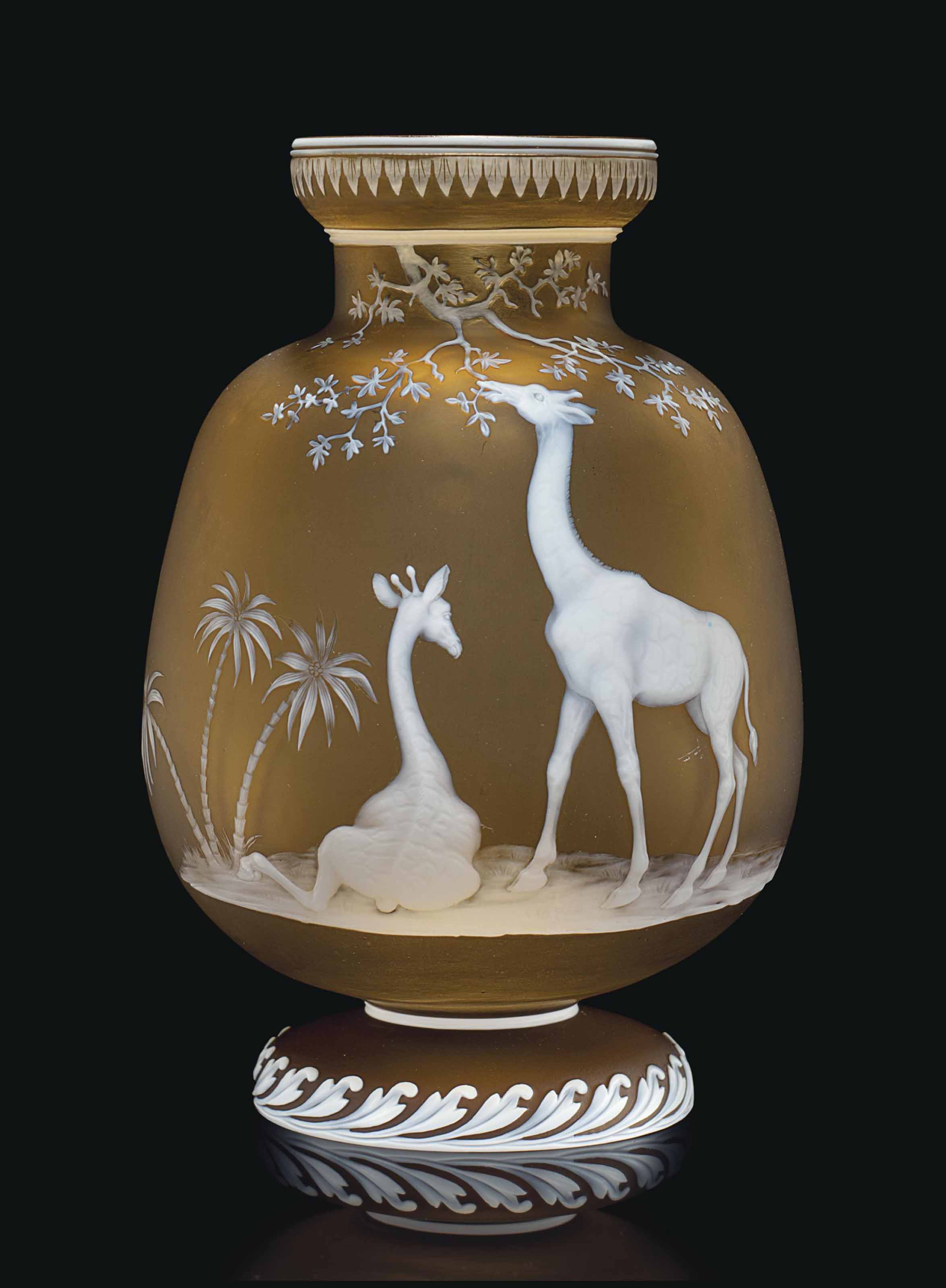 A THOMAS WEBB & SONS CAMEO GLASS VASE OF GIRAFFES