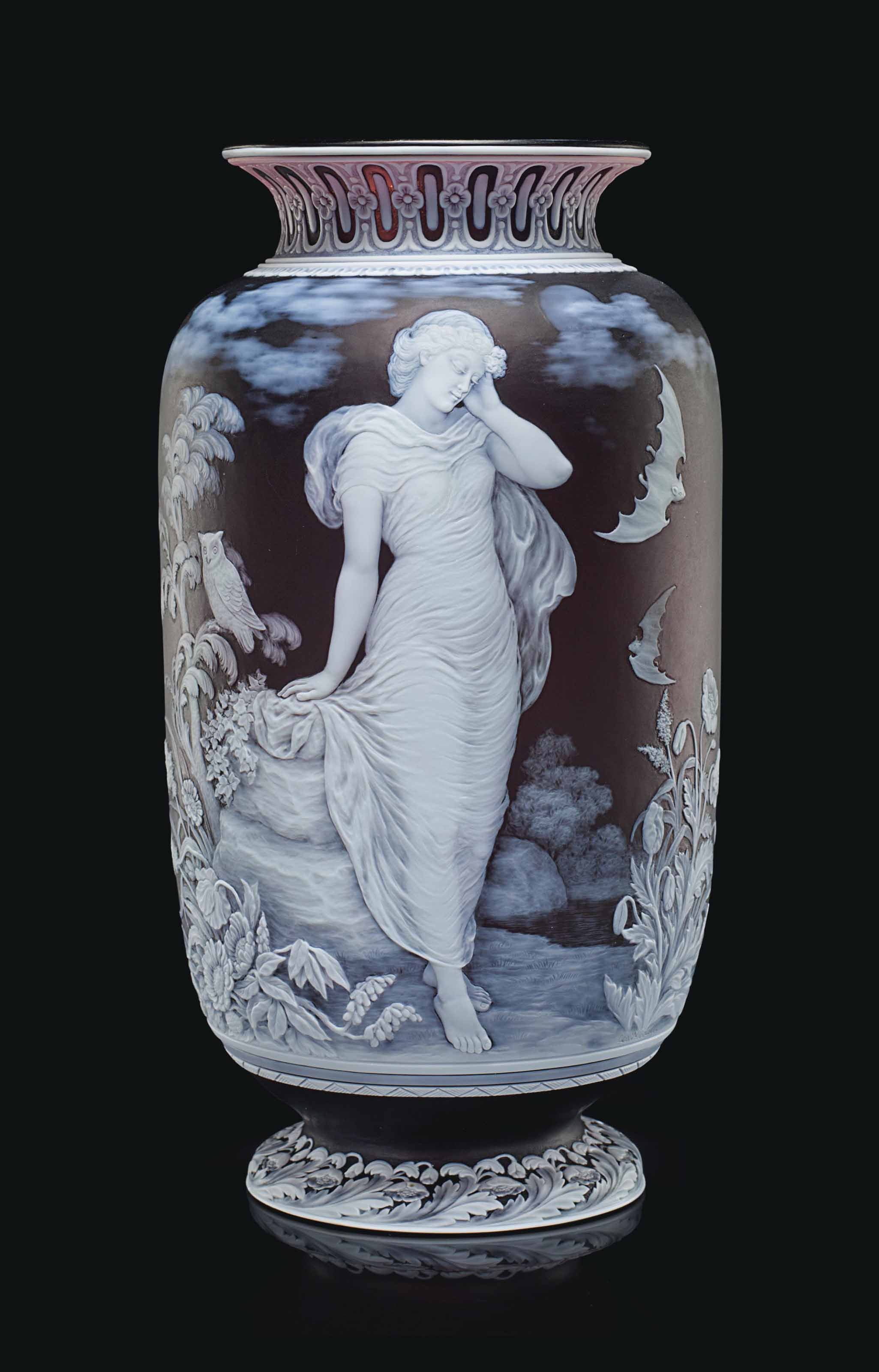 A THOMAS WEBB & SONS CAMEO GLASS ALLEGORICAL VASE, 'NIGHT'