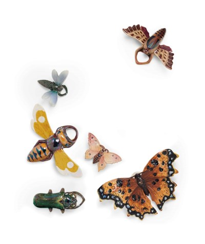 SIX FRENCH MAJOLICA INSECT-FOR