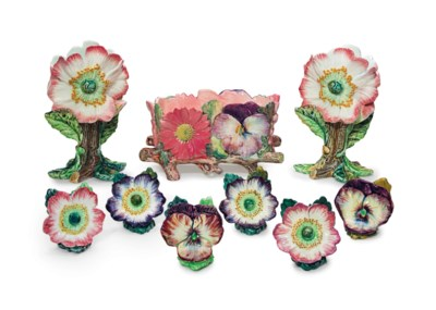 A GROUP OF FRENCH MAJOLICA FLO