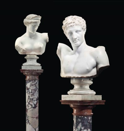 A PAIR OF ITALIAN WHITE MARBLE