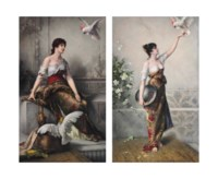 A LARGE PAIR OF BERLIN (K.P.M.) PORCELAIN RECTANGULAR PLAQUES, DIE LIEBLINGE AND MANUELA