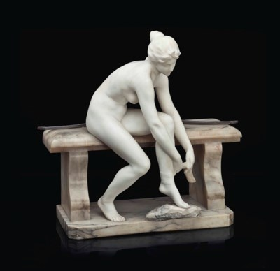 AN ITALIAN MARBLE AND BRONZE F