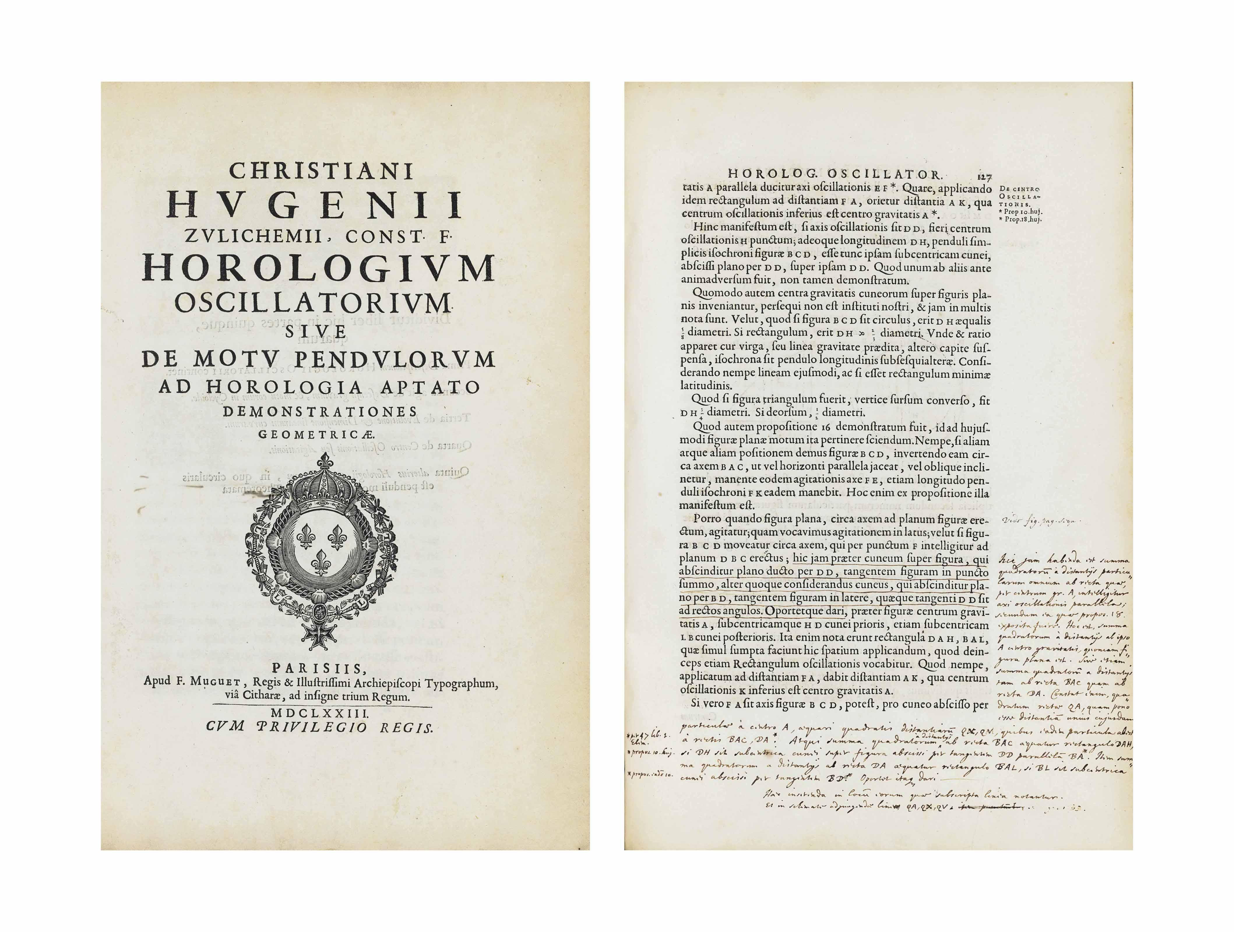 HUYGENS, Christiaan (1629-1695). Horologium oscillatorium sive de motu pendulorum ad horologia aptato demonstrationes geometricae. Paris: F. Muguet, 1673.