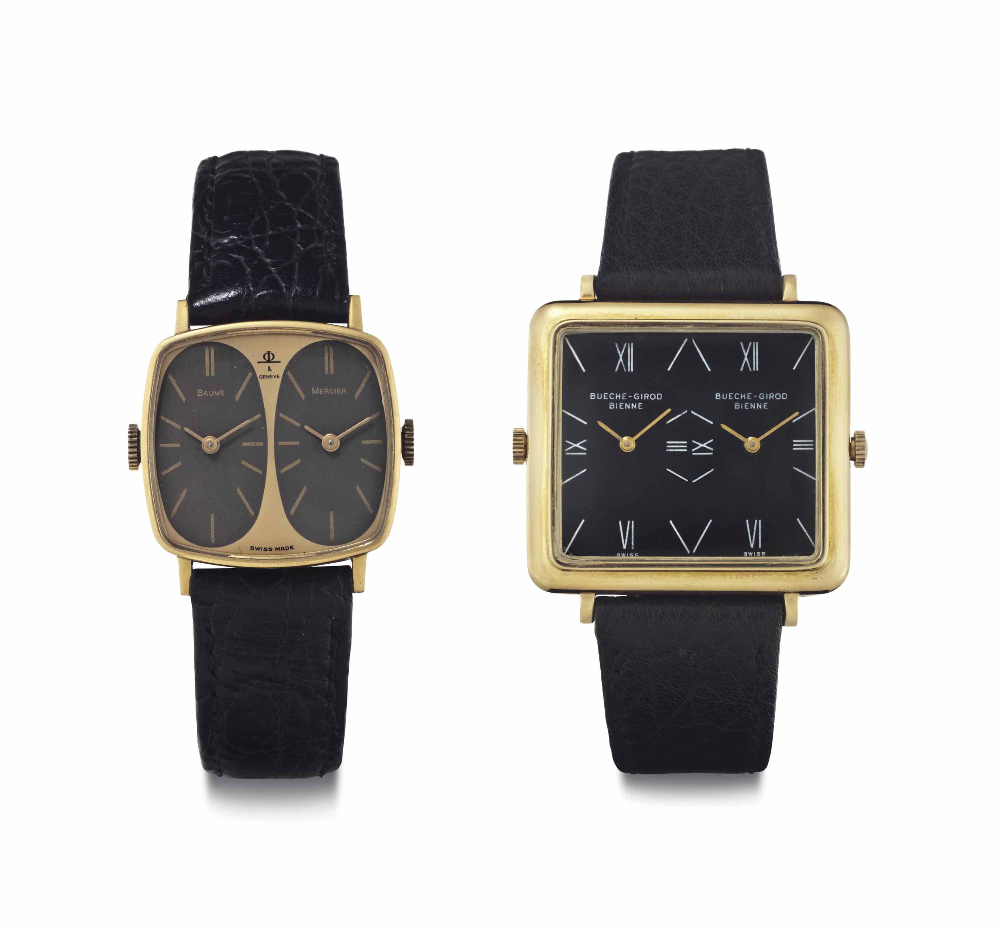 Bueche-Girod and Baume & Mercier. A lot of Two 18k Gold Dual-Time Wristwatches