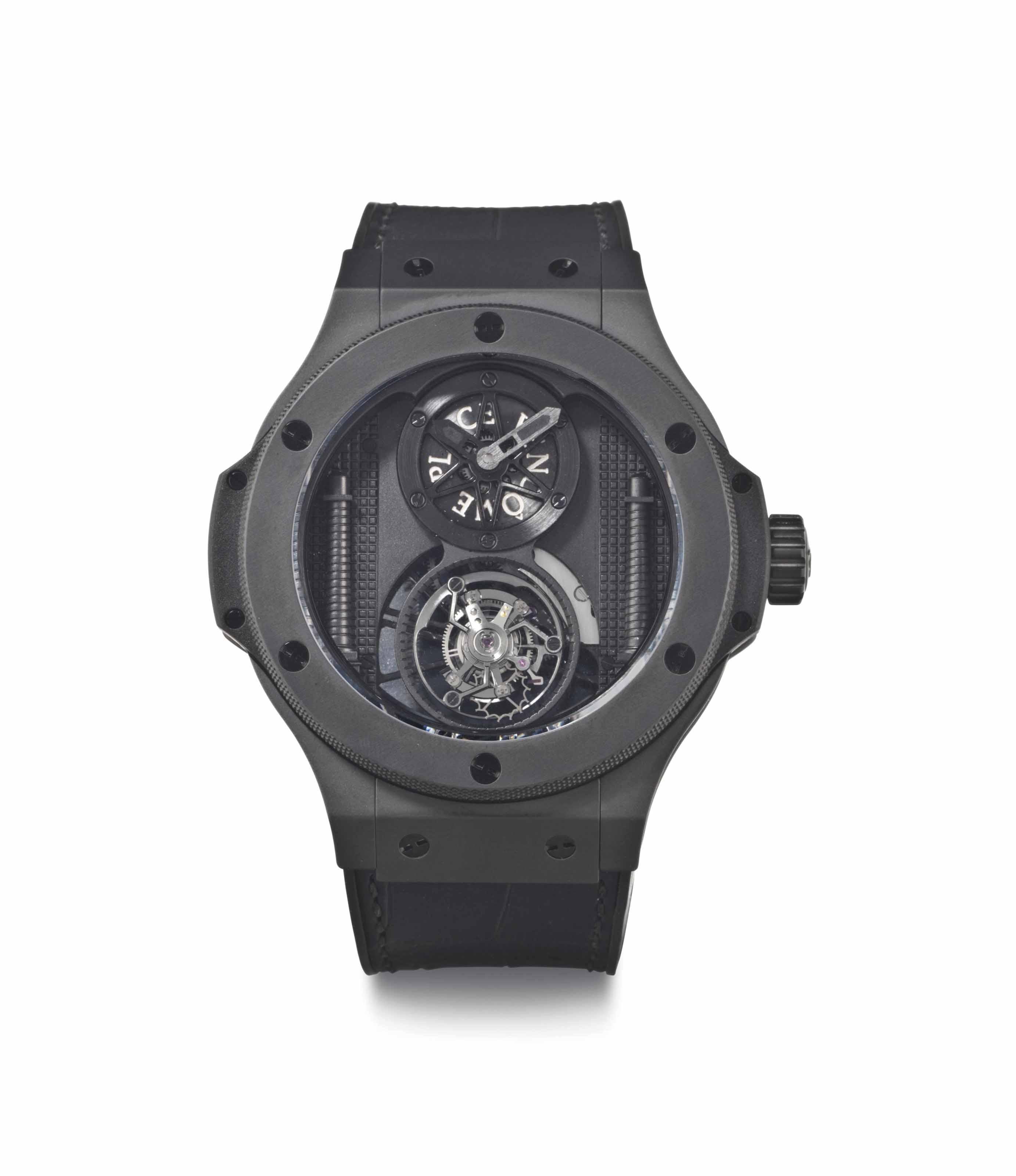 Hublot. A Limited Edition Ceramic Black Wristwatch with Tourbillon
