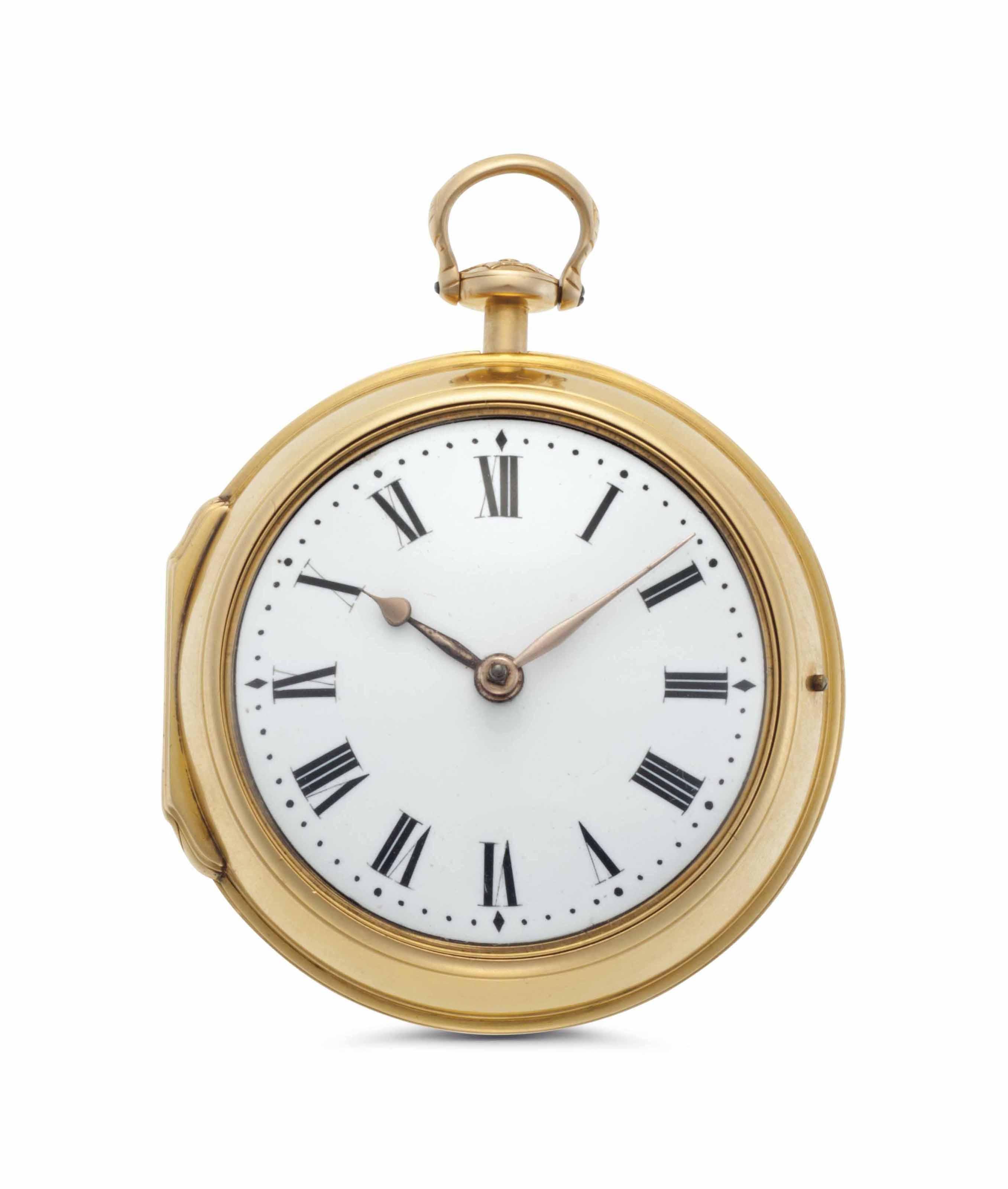 Mudge & Dutton. A Fine 18k Gold Pair Case Key Wound Cylinder Pocket Watch