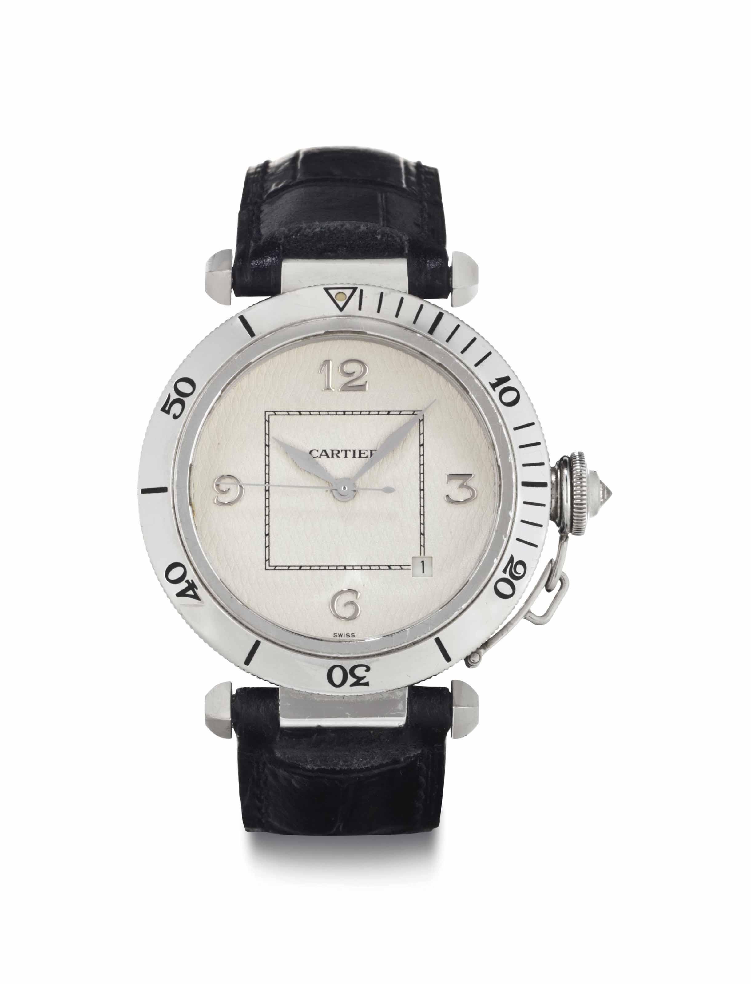 Cartier. An 18k White Gold Aut