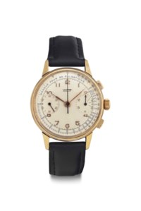 Tissot. An 18k Gold Chronograph Wristwatch with Pulsometer Scale