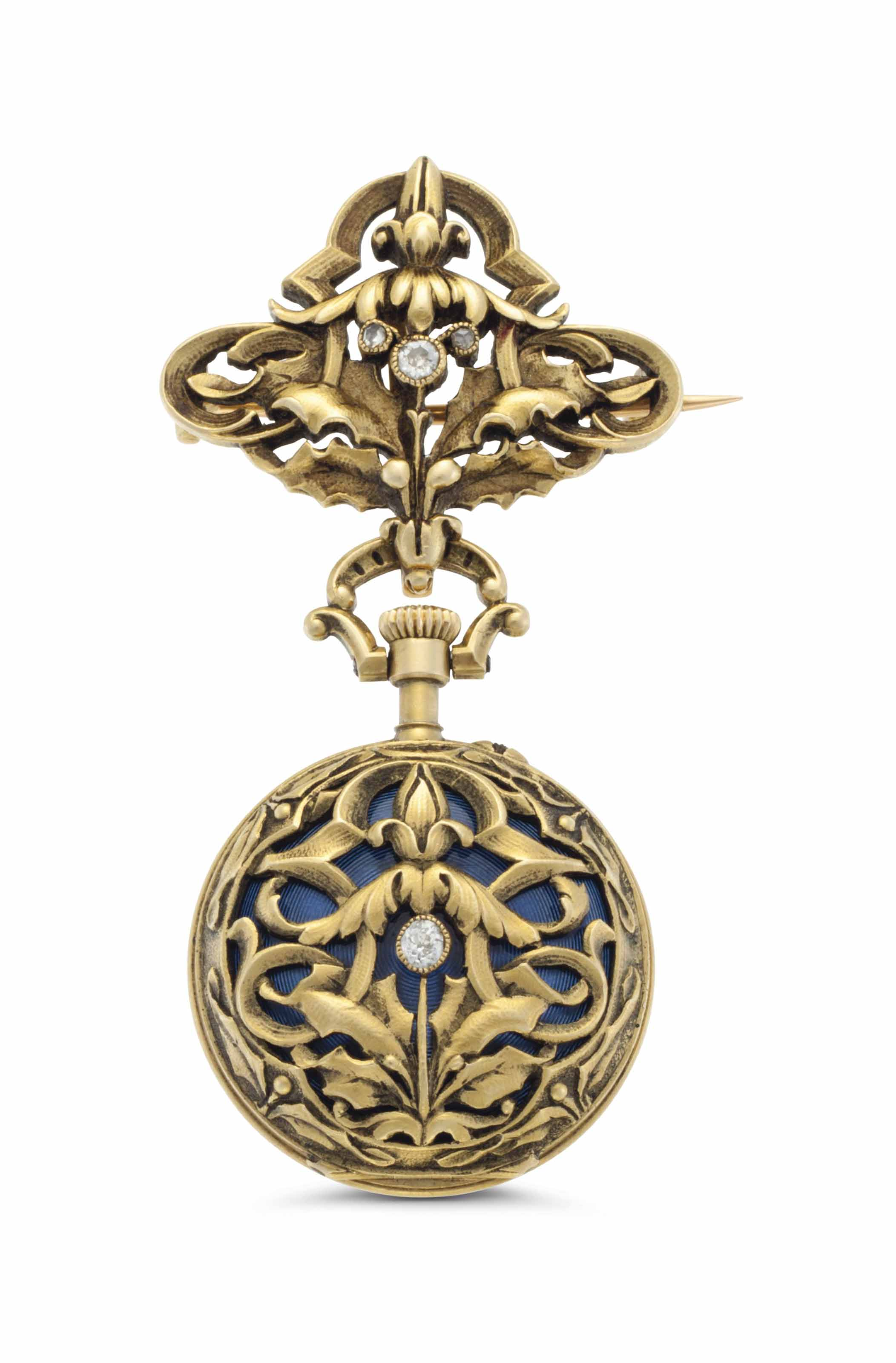 Swiss. A Lady's 18k Gold, Enamel and Diamond-set Openface Keyless Lever Pendant Watch