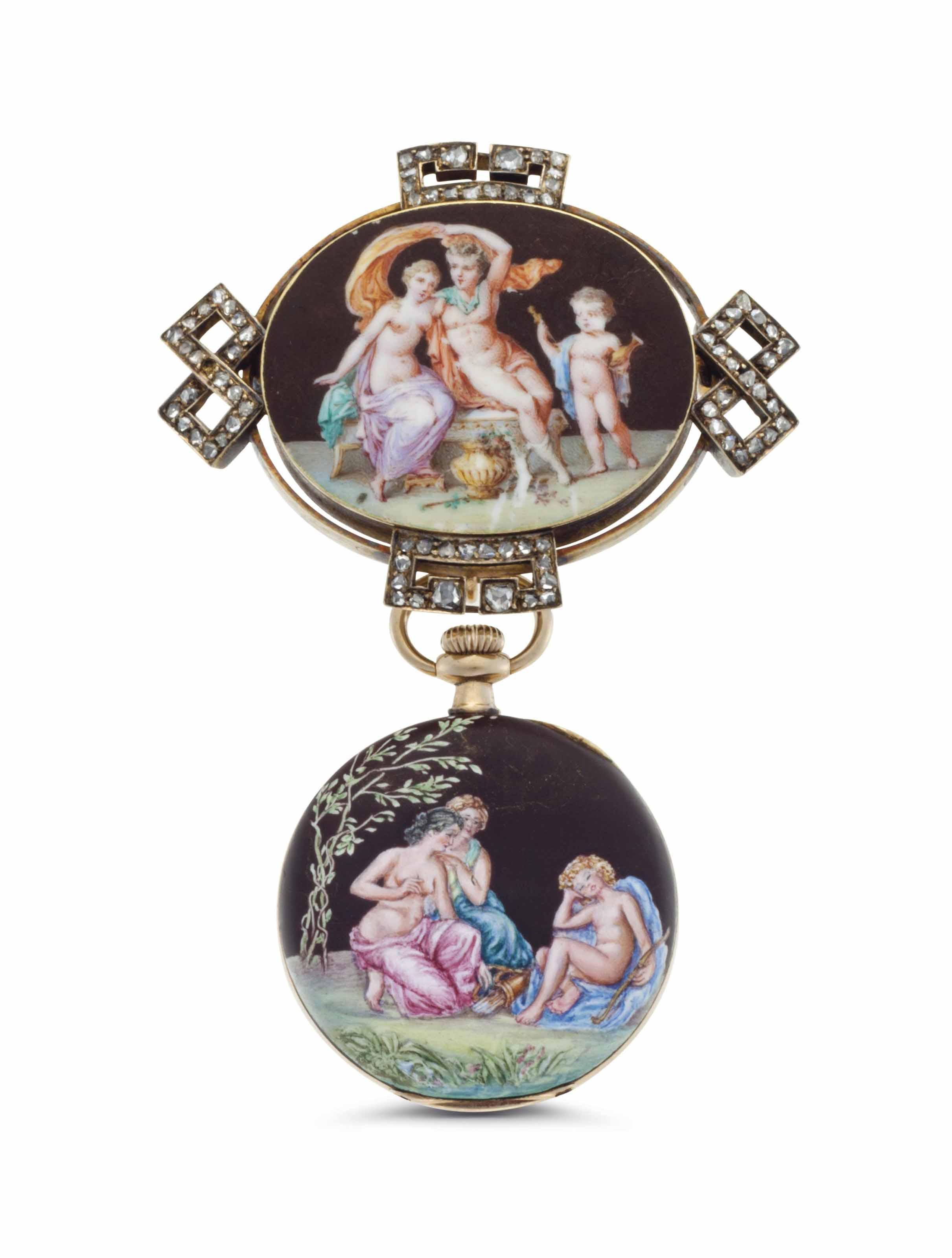 Longines. A Lady's 14k Gold, Diamond-set and Enamel Openface Keyless Lever Pendant Watch with Matching Pendant