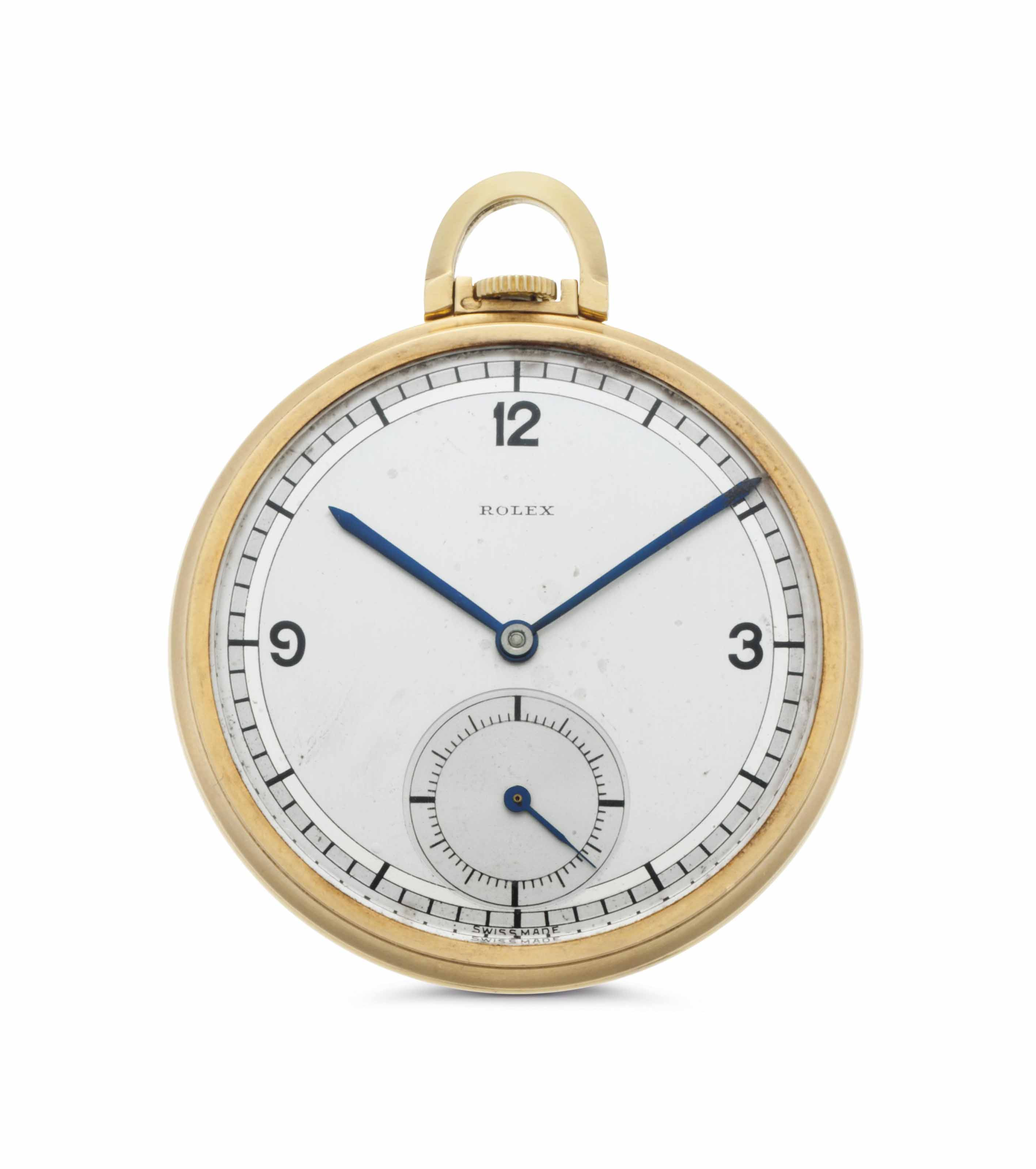 Rolex. An 18k Gold Openface Keyless Lever Pocket Watch with Two-Tone Dial