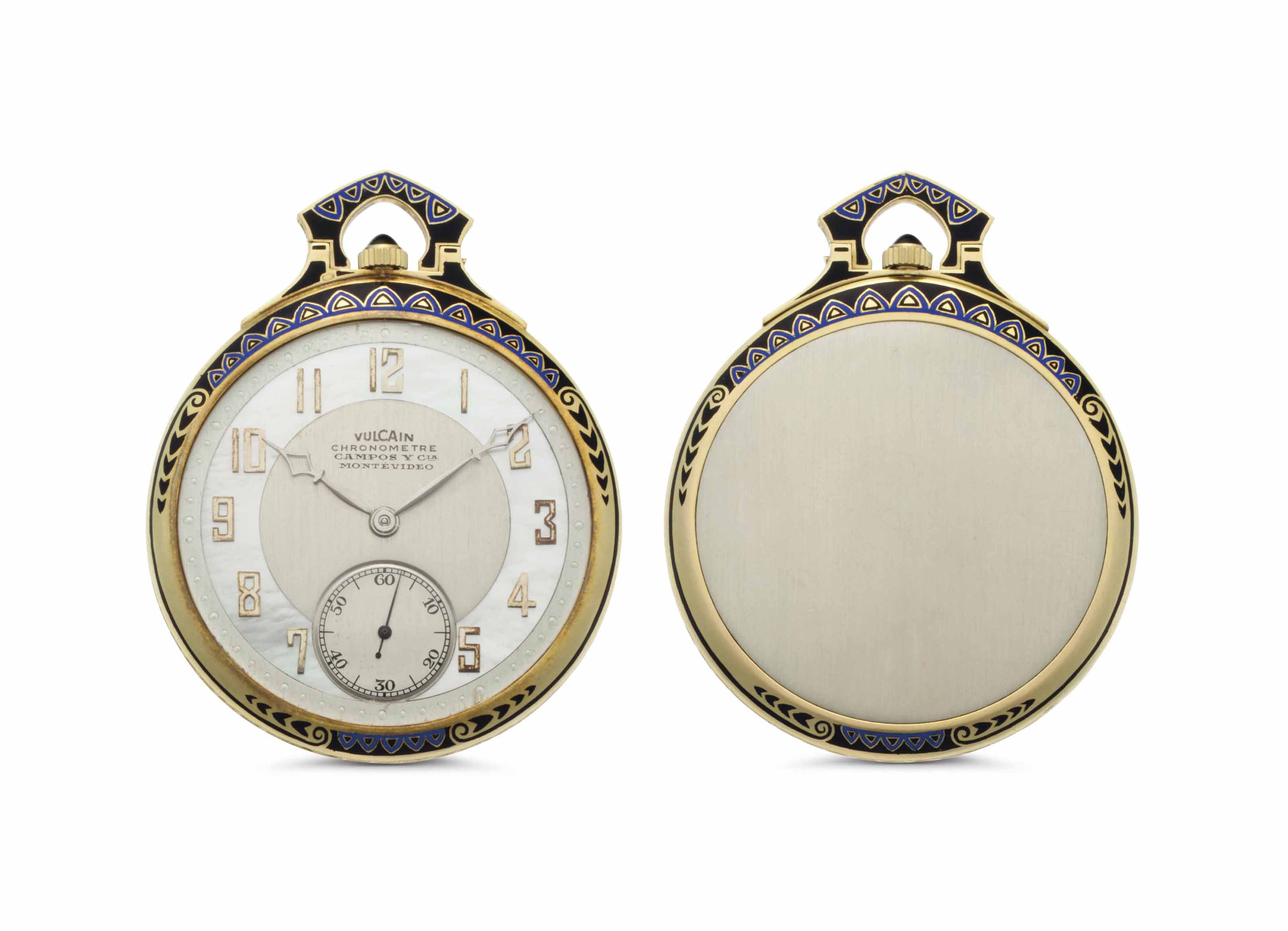 Vulcain. A Two-Tone 18k Gold, Enamel and Mother-of-Pearl Openface Keyless Lever Watch