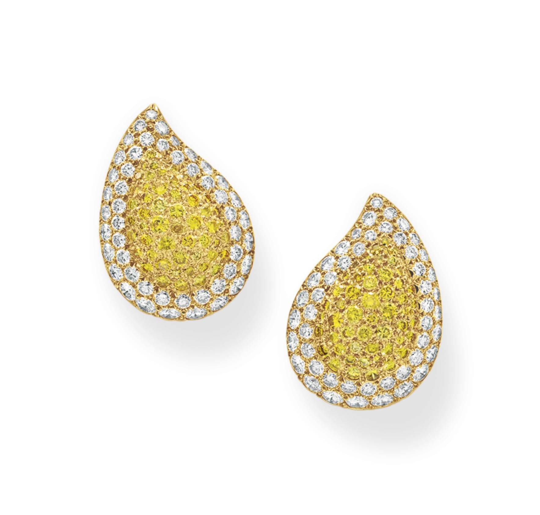 A PAIR OF COLORED DIAMOND AND DIAMOND EAR CLIPS, BY VAN CLEEF & ARPELS