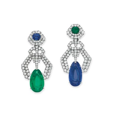 Emerald, sapphire and diamond ear pendants, by David Webb. Sold for $149,000 on 10 December 2014 at Christie's in New York