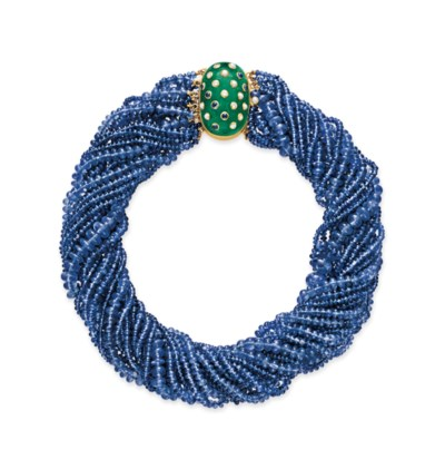 A SAPPHIRE BEAD AND MULTI-GEM