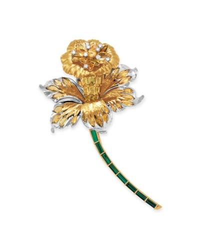 A DIAMOND AND MULTI-GEM FLOWER