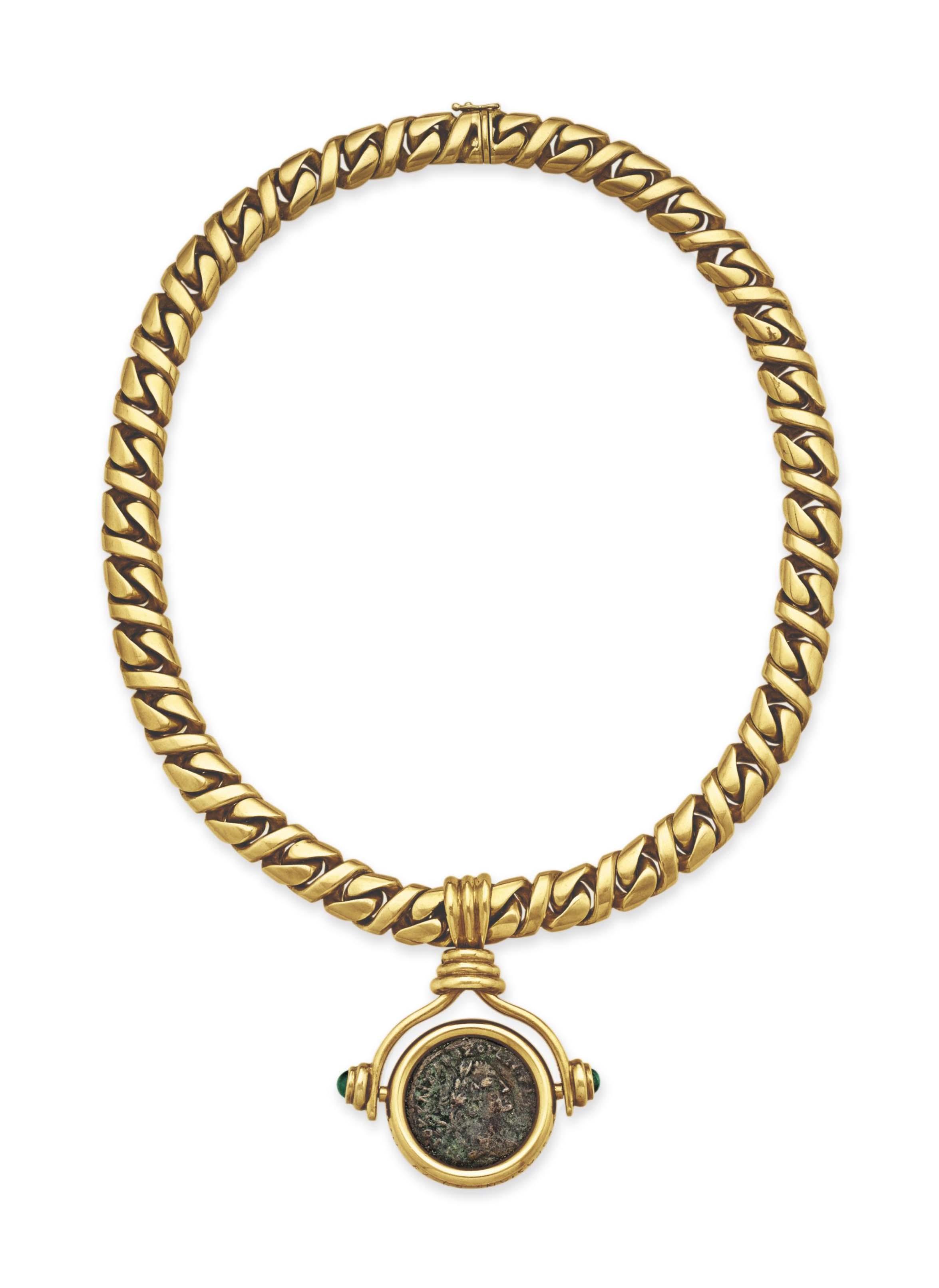 A GOLD COIN NECKLACE