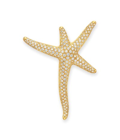 A DIAMOND AND GOLD STARFISH BR