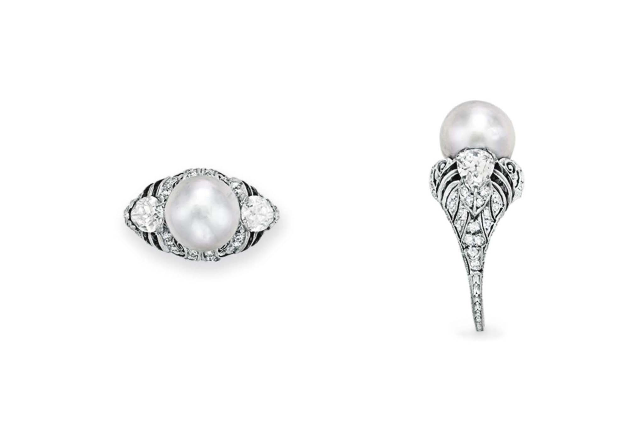 AN ART DECO NATURAL GRAY PEARL, DIAMOND AND ONYX RING