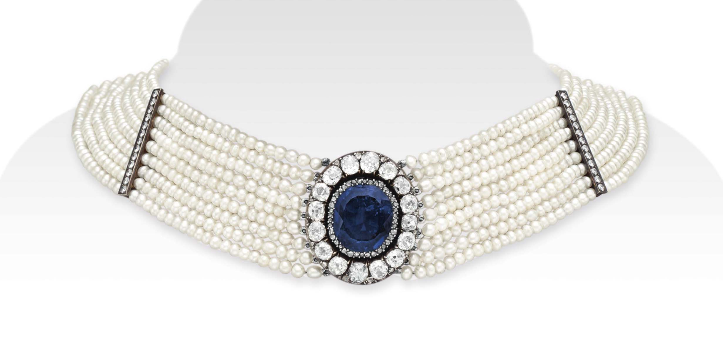 A SAPPHIRE, DIAMOND AND SEED PEARL CHOKER NECKLACE