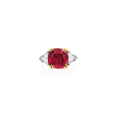 A RUBY AND DIAMOND RING, BY HA