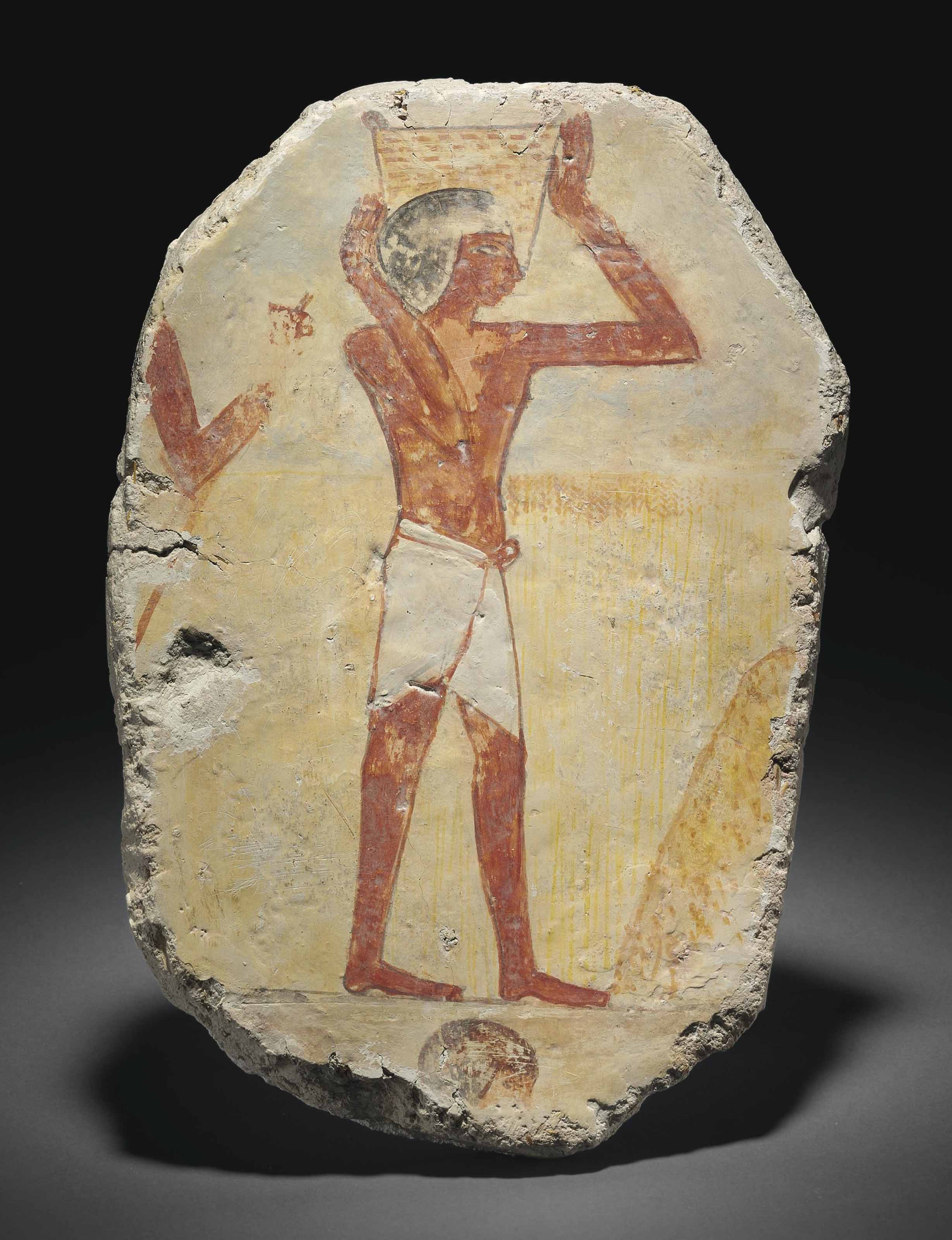 AN EGYPTIAN WALL-PAINTING FRAGMENT | NEW KINGDOM, 1550-1070 B.C. ...