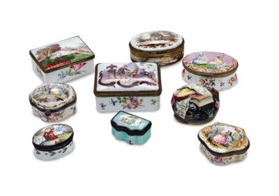 SIX ENGLISH AND ENAMEL BOXES A