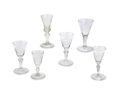 SIX GLASSES ENGRAVED WITH ARMO