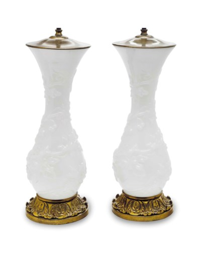 A PAIR OF WHITE OPALINE GLASS