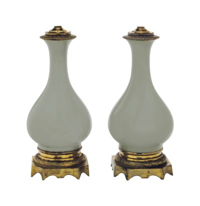 A PAIR OF CELADON GLAZED VASES