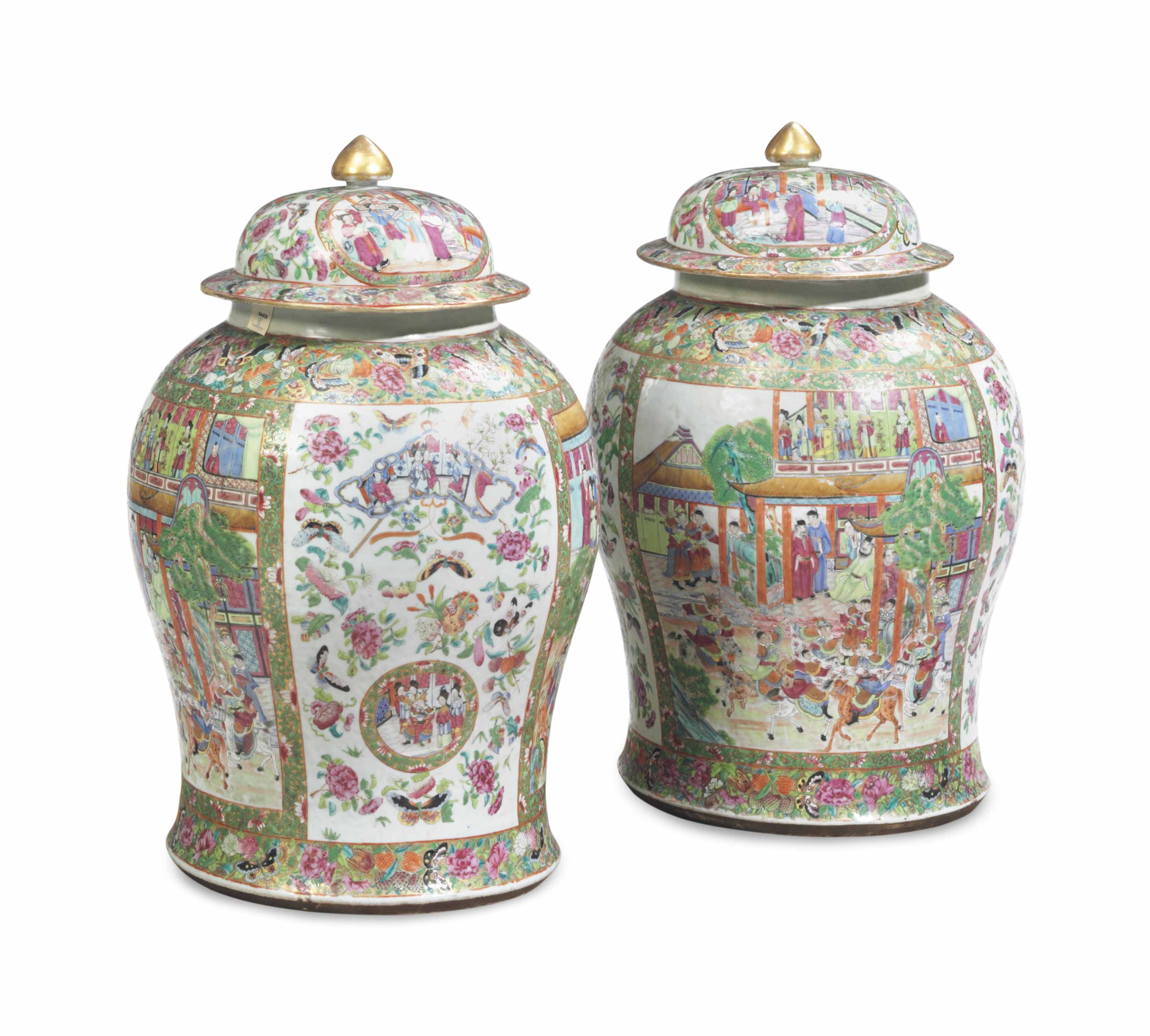 A PAIR OF CHINESE EXPORT LARGE 'CANTON FAMILLE ROSE' BALUSTER JARS AND COVERS,
